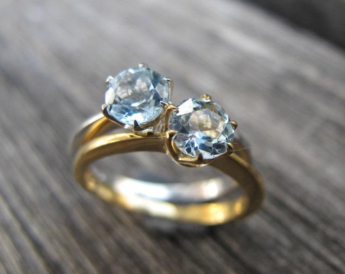 Blue Topaz Stack Rings- Topaz Rings- Topaz Stackable Rings- December Birthstone Rings- Solitaire Rings- Silver Stone Rings- Blue Stone Rings