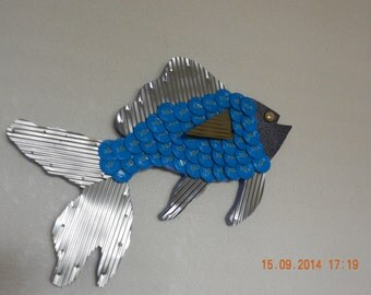 Hand Crafted Fish from Bottle Caps and Tin Cans With 30 A caps from Destin Florida (Made to order)