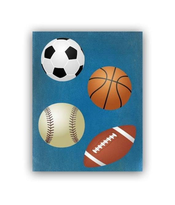 Sports kids decor wall art print children sports art for Kids sports room