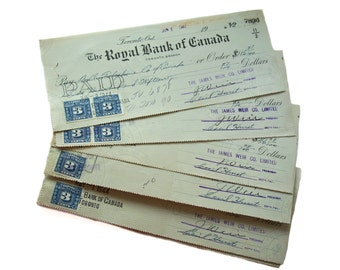 Royal Bank of Canada Toronto Branch 1944 Excise Stamps Cancelled Cashed Cheques