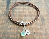 Waxed Linen Necklace - Personalized Initial Charm - Chalcedony Bezel Set Drop - Faceted Sterling Silver Beads