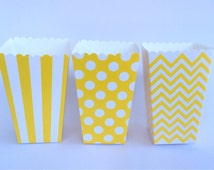Yellow Treat Boxes popcorn boxes - chevron - polka dot or stripe printed party box candy buffet treat box snack box gift box 12 count)