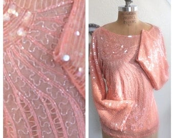 PINK SEQUINed Blouse top, Amazing Ballerina Pink Sequined Blouse, Marabou Fan Pattern Embroidered on Front.