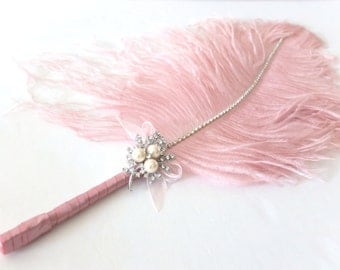 Jumbo Feather Pen with Pearl Brooch / Vintage Pink Feather Pen/ Wedding Signing Pen / Guest Book Pen / Wedding Reception Accessories