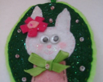 Felt Cameo  Bunny Ornaments