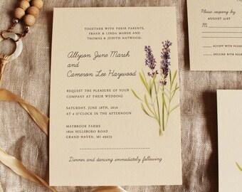Lavender Wedding Invitation Vintage Botanical Wedding Invitation Printable or Ship