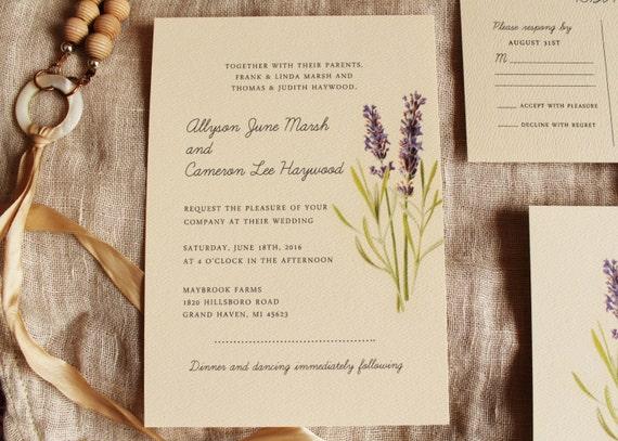 lavender wedding invitation vintage botanical wedding, invitation samples