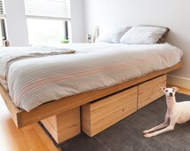Unique reclaimed wood bed related items etsy for Raw wood bed frame