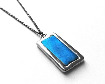 Rectangle Necklace, Cornflower Blue, Modern Jewelry, Geometrical, Simple Pendant, Custom Color