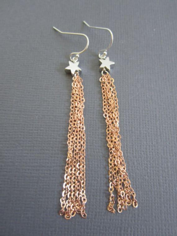 Shooting star earring, Star Jewelry, Earrings, rose gold chain, Dangling earrings