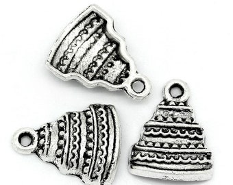 10 Pieces Antique Silver Birthday Cake  Charms