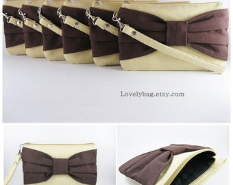 SUPER SALE - Set of 5 Cream with Brown Bow Clutches - Bridal Clutches, Bridesmaid Clutch, Bridesmaid Wristlet, Wedding Gift - Made To Order