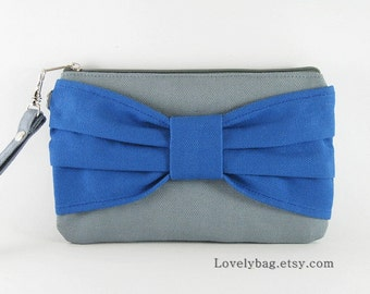 SUPER SALE - Gray with Royal Blue Bow Clutch - iPhone 5 Wallet, iPhone Wristlet, Cell Phone Wristlet, Camera Bag, Cosmetic Bag, Zipper Pouch