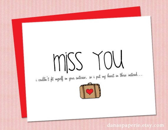 Items similar to I miss you card, cute miss you card ...