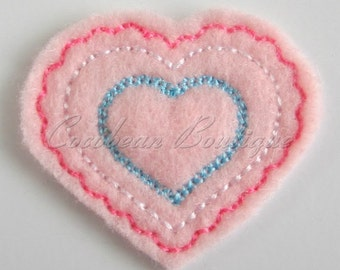 Lace Edged Heart feltie -mini embroidery-digital download