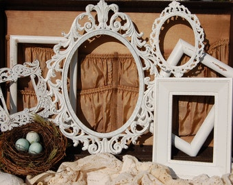 Set Of 5 White PICTURE FRAMES/Wall Frames/Shabby Chic Frame Set/Ornate Gallery Frame