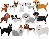 Dogs and Friends clip art part 6 for Personal and Commercial use - INSTANT DOWNLOAD