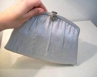 Vintage Mid Century Silver Evening Bag Clutch