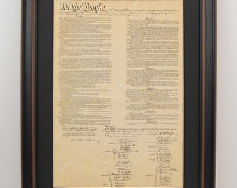Framed United States Constitution with Black Matte - FREE Shipping