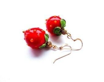 Red Strawberry Earrings Red Berry Earrings Lampwork Glass Earrings Dangle Earrings Gold Filled Earrings Hooks Ready to ship OOAK Jewelry
