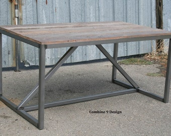 Modern Dining Table Industrial Desk Reclaimed Wood And Steel Mid Century