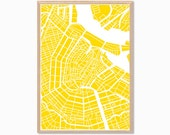 HOLLAND | Amsterdam City Map Poster  : Modern Townhouses Illustration Retro Art Wall Decor Print