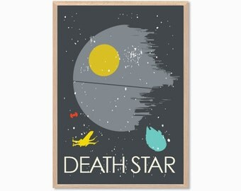 STAR WARS | Death Star Poster : Rebel in Action Death Star Modern Planet Illustration Retro Art Wall Decor Print