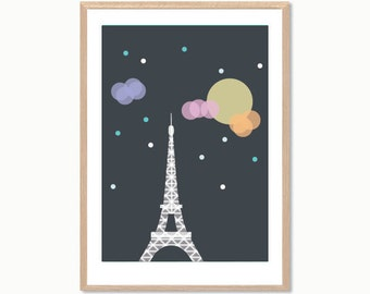 FRANCE | Eiffel Tower Paris Poster : Modern French Illustration Retro Art Wall Decor Print