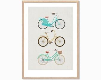 RETRO | Bikes Poster : Modern Bicycle Illustration Retro Art Wall Decor Print