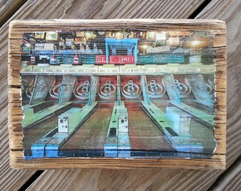 Color photograph featuring arcade Skee Ball in Ocean City Maryland transferred onto reclaimed boardwalk wood