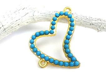 Heart Connector in Gold Rhinestone Connector Heart Charm with Turquoise Resin Beads