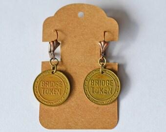 Vintage bridge token earrings