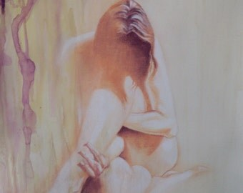 Figure painting, contemporary realism, Contrition