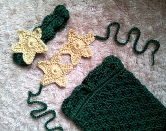 Crochet Baby Mermaid Dark Green and Gold Baby Girl Outfit Costume Photo Prop