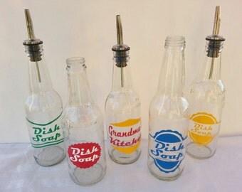 RETRO Soda Bottle Dish Soap Dispensers Dishsoap Pour Spout Vintage Inspired Soda Bottles Retro Olive Oil Bottle Pour Spout Bottle 12 oz ONE