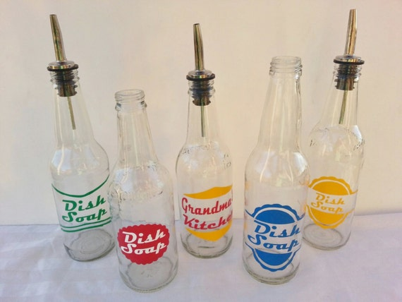 Dishwashing Liquid Dispenser ~ Retro soda bottle dish soap dispensers by bittersweetlemonade