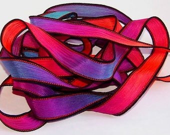 Sassy Silks Hand Painted Silk Ribbons Cosmic Glow