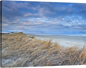 Beach Decor Canvas Gallery Wrap Coastal Decor Large Wall Art Dunes Grass Neutral Beige Blue White Tan Ivory Living Room Bedroom