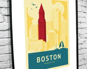 Boston, Massachusetts Skyline 11x17 Poster