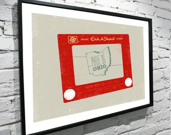 "Made In Ohio, Etch A Sketch 8""x10"" Poster"