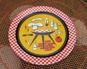 Vintage Round Metal BBQ Tray Retro 1950s Barbecue Bar-B-Que