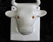 Ceramic Cow Bull Head Towel Tie Rack Jewelry Holder