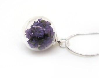 Purple Caspia Flowers Glass Globe Pendant Necklace - Real dried flowers in glass orb, Pressed Flower Jewelry - Botanical Pendant - Limonium