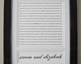 first dance lyrics wedding vows personalized wedding gift for couples framed wedding vows or lyrics and name