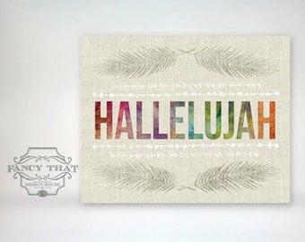 8x10 art print - Hallelujah - linen texture, bright colors, feathers & doodles - Inspirational Typography Poster Print