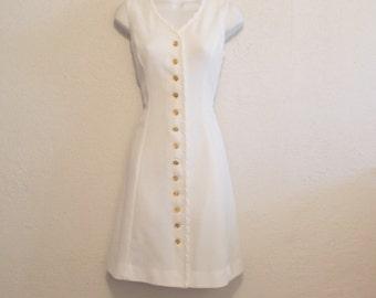 1960s White Tank Dress & Bolero Jacket Set by Barnsville, M