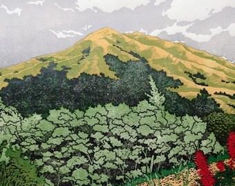 Mount Tamalpais, CA -  Linocut Relief Print