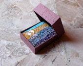 Wedding book mosaic / turquoise, blue, mustard / Coptic book mosaic / french style mosaic / art mosaic geometric