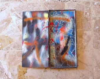 mosaic art / wall art mosaic / blue, red, orange, black glass mosaic / wooden box handapainted with glass mosaic / original art NO WAR