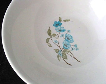Sabin China Vegetable or Serving Bowl with Blue Poppy Flowers Vintage 1950s